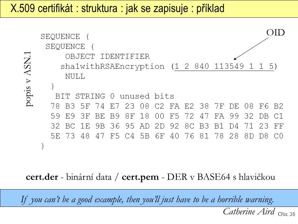 cert.der - binární data / cert.pem - DER v BASE64 s hlavičkou