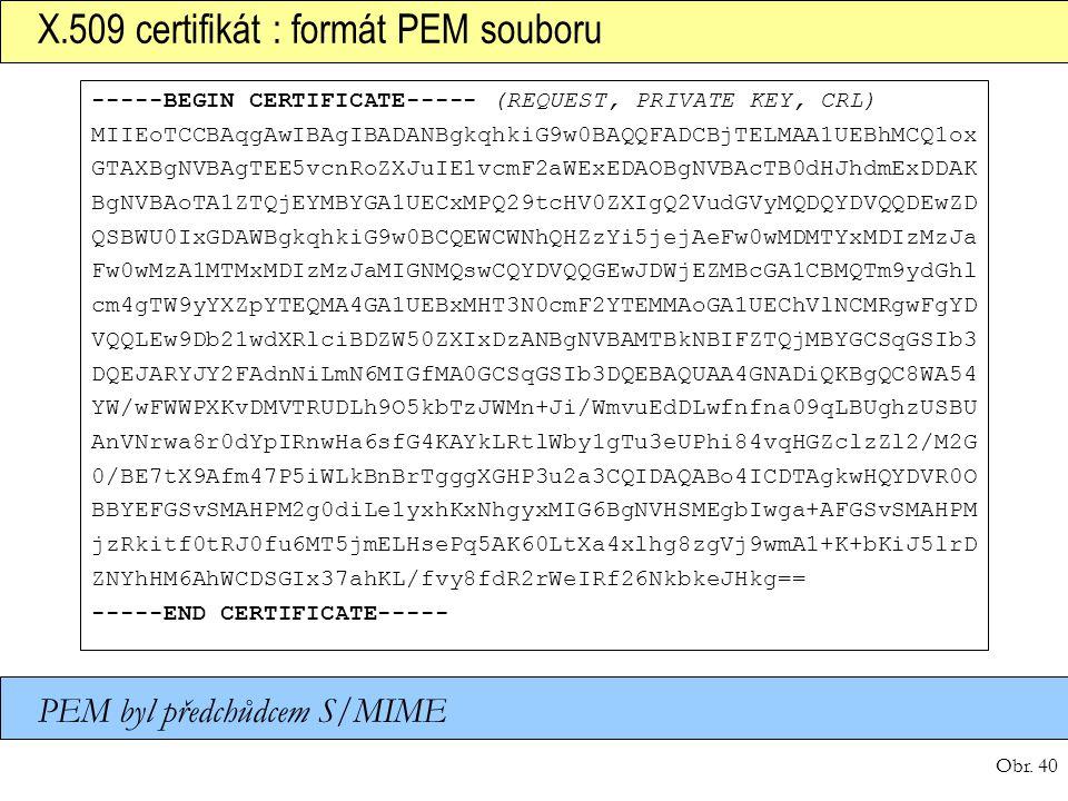 X.509 certifikát : formát PEM souboru