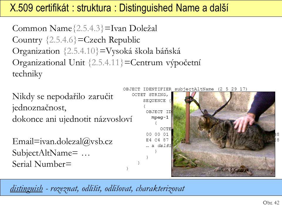 X.509 certifikát : struktura : Distinguished Name a další