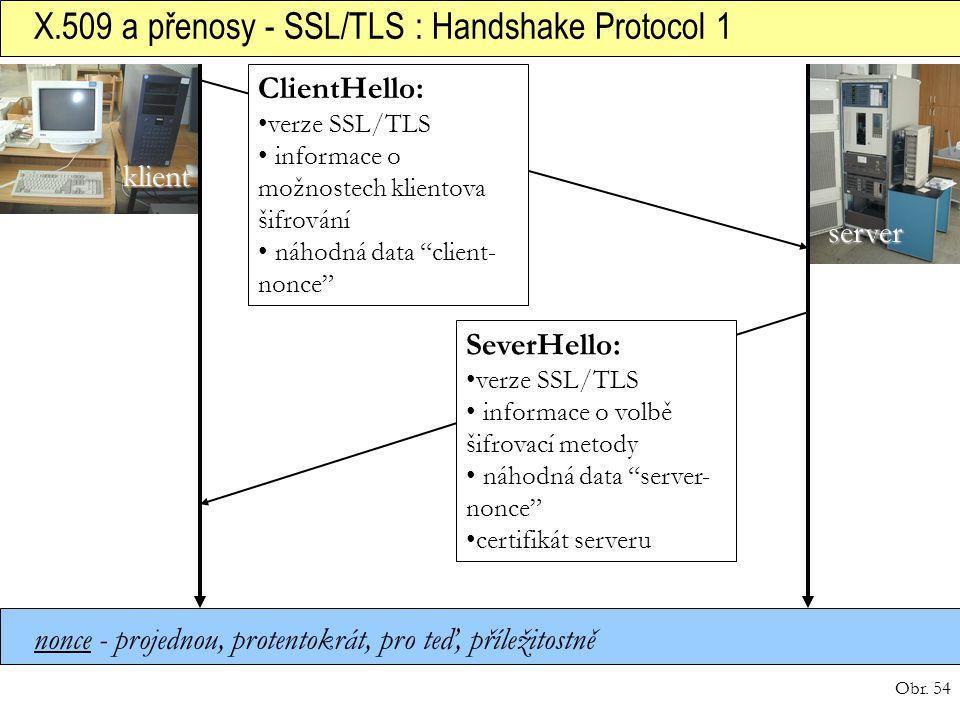 X.509 a přenosy - SSL/TLS : Handshake Protocol 1