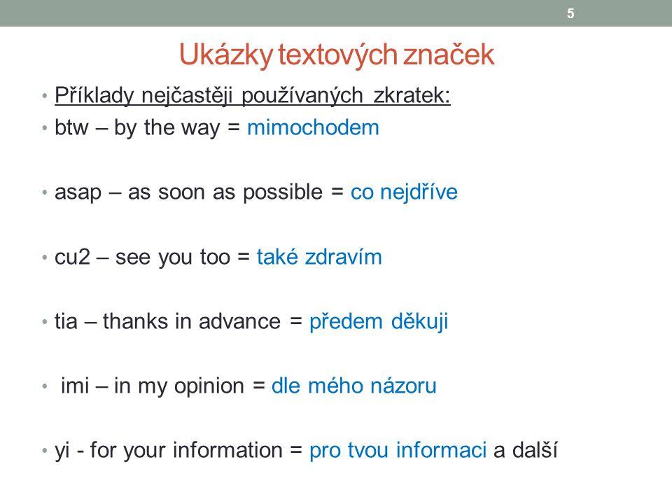 Ukázky textových značek