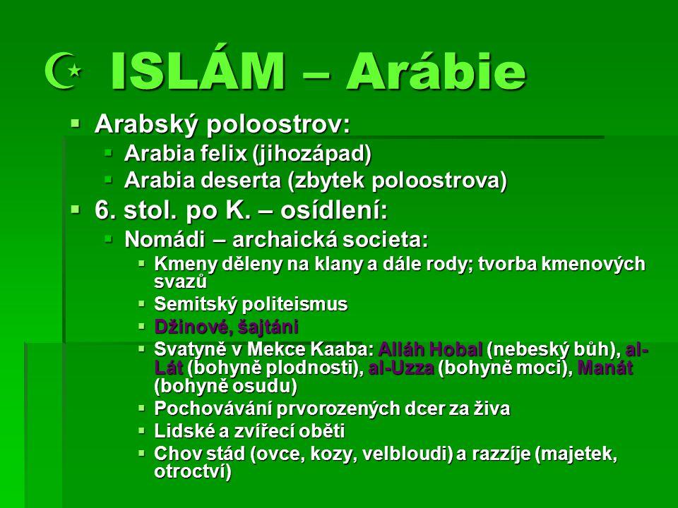  ISLÁM – Arábie Arabský poloostrov: 6. stol. po K. – osídlení: