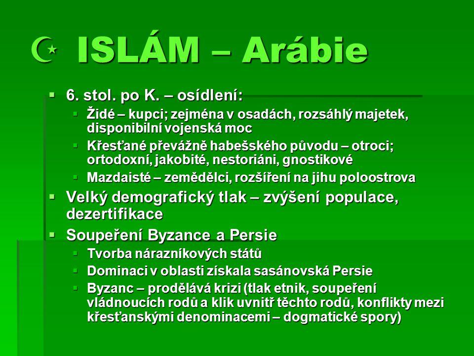  ISLÁM – Arábie 6. stol. po K. – osídlení: