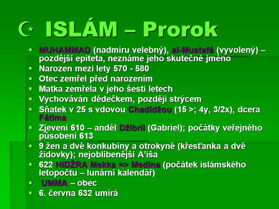  ISLÁM – Prorok MUHAMMAD (nadmíru velebný), al-Mustafá (vyvolený) – pozdější epiteta, neznáme jeho skutečné jméno.