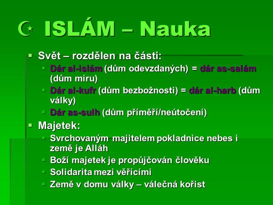  ISLÁM – Nauka Svět – rozdělen na části: Majetek: