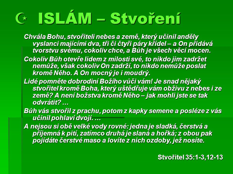  ISLÁM – Stvoření