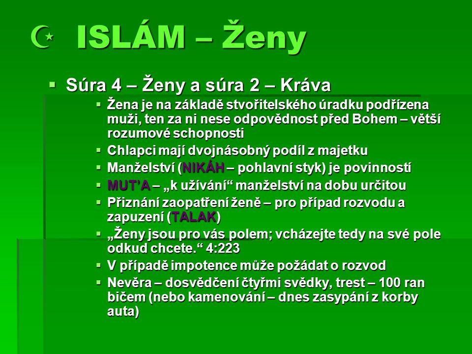  ISLÁM – Ženy Súra 4 – Ženy a súra 2 – Kráva