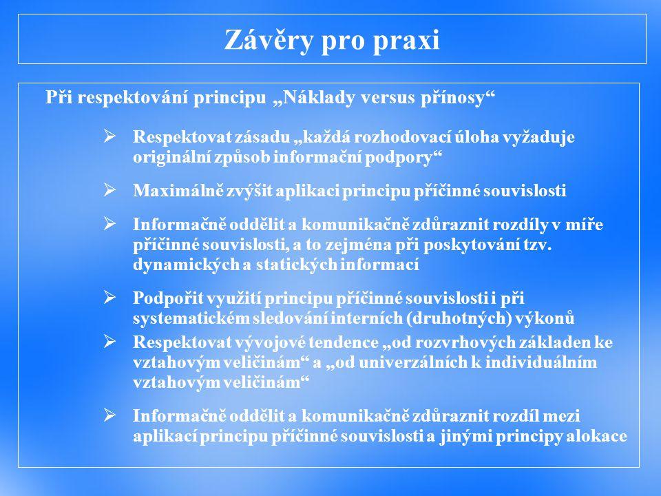 """Závěry pro praxi Při respektování principu """"Náklady versus přínosy"""