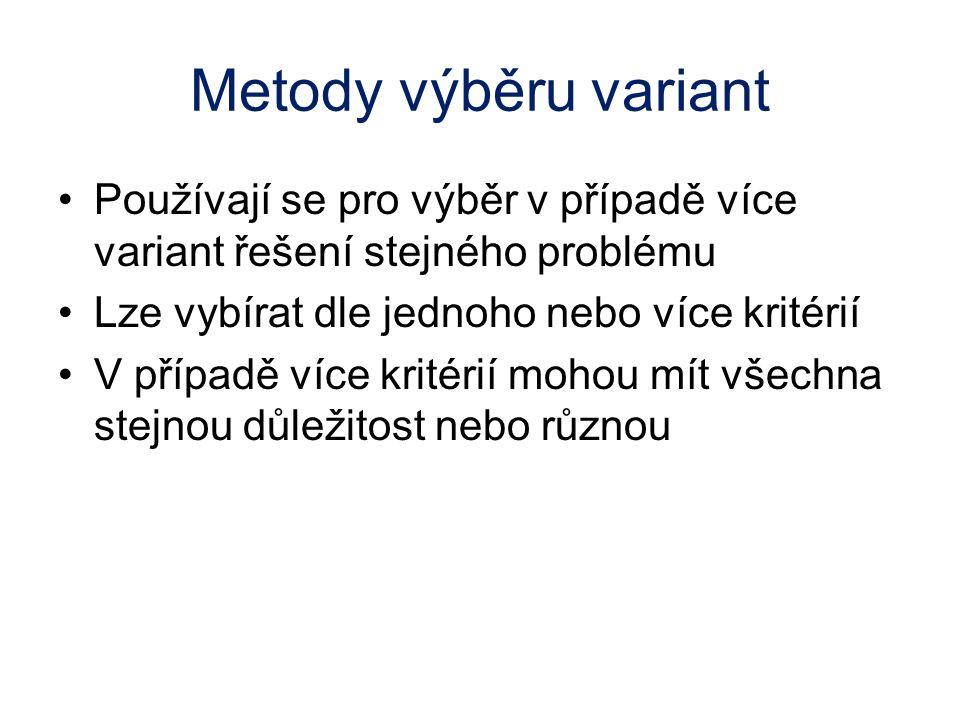 Metody výběru variant Používají se pro výběr v případě více variant řešení stejného problému. Lze vybírat dle jednoho nebo více kritérií.