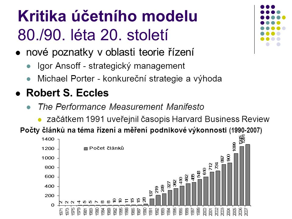 Kritika účetního modelu 80./90. léta 20. století