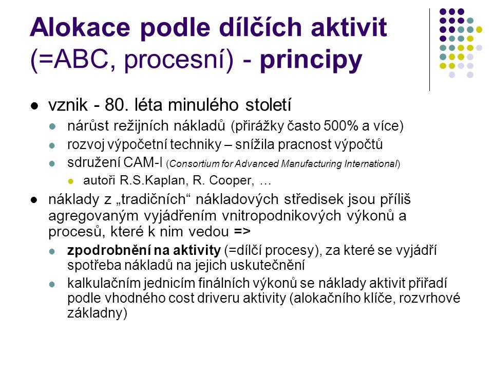 Alokace podle dílčích aktivit (=ABC, procesní) - principy