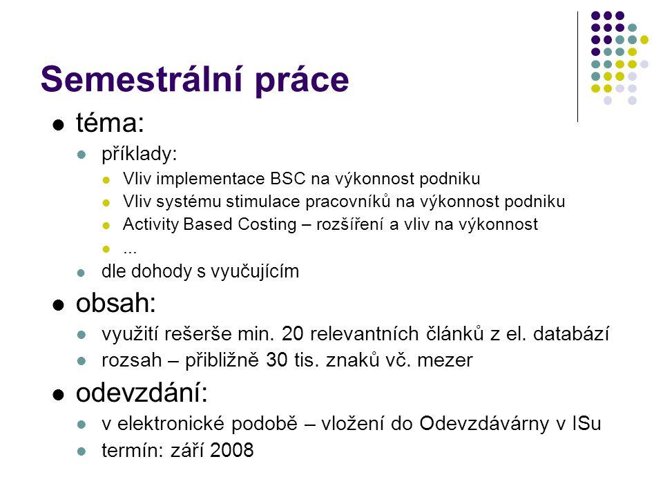 Semestrální práce téma: obsah: odevzdání: příklady: