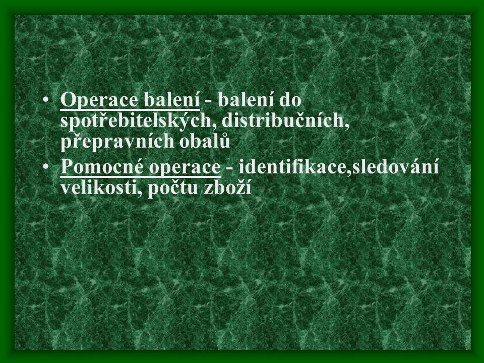Operace balení - balení do spotřebitelských, distribučních, přepravních obalů