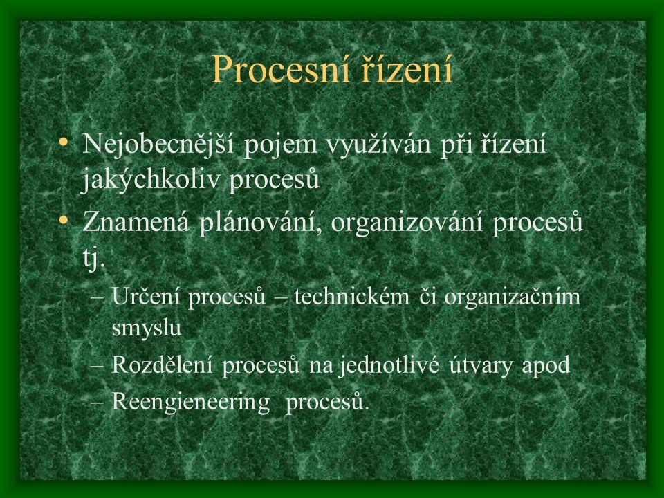 Procesní řízení Nejobecnější pojem využíván při řízení jakýchkoliv procesů. Znamená plánování, organizování procesů tj.