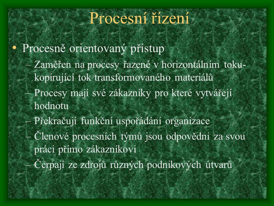 Procesní řízení Procesně orientovaný přístup