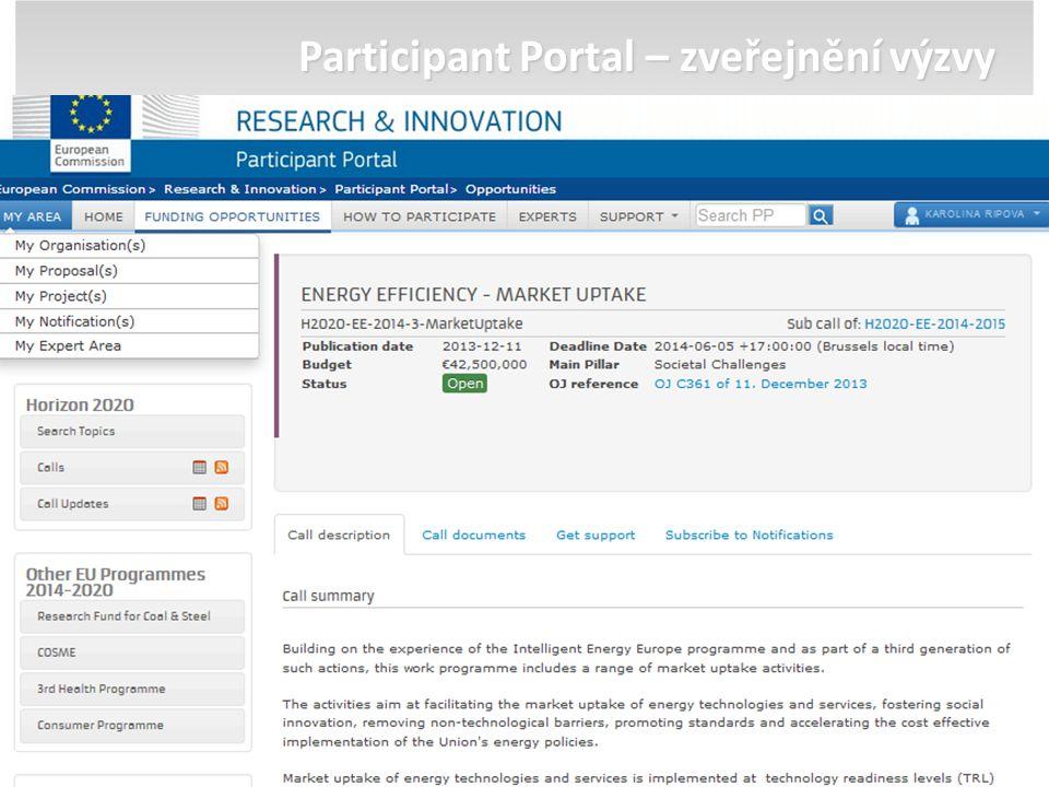 Participant Portal – zveřejnění výzvy