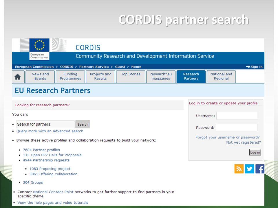 CORDIS partner search - Najít si login