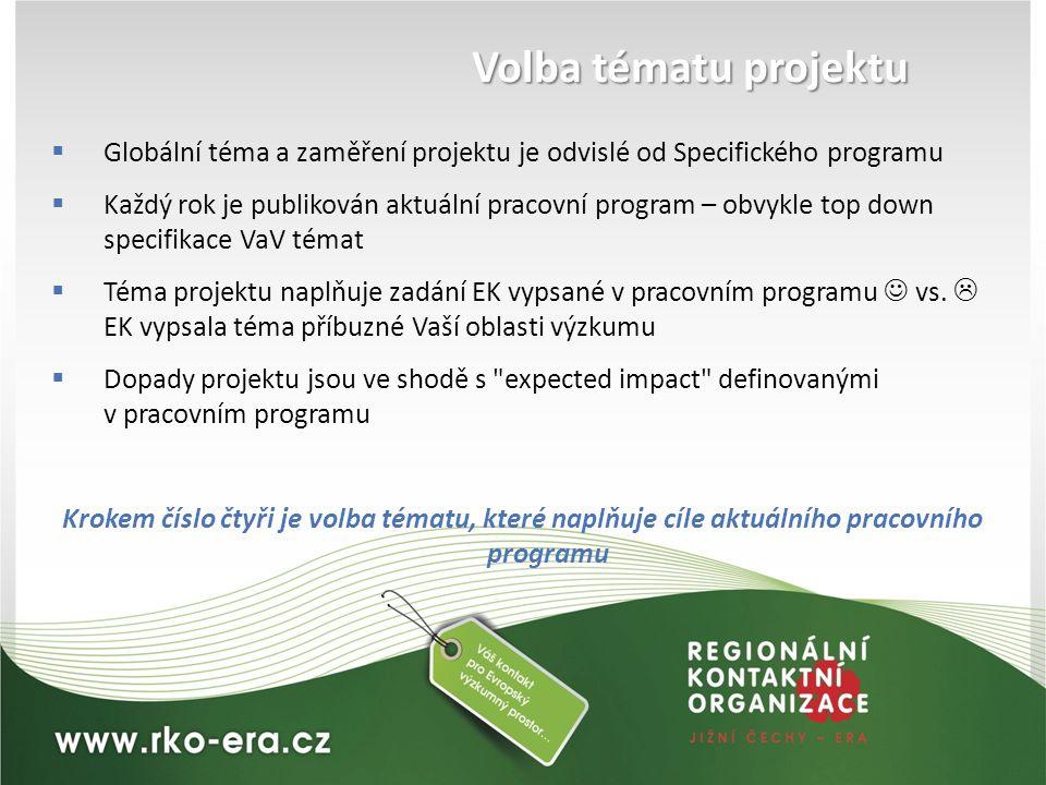 Volba tématu projektu Globální téma a zaměření projektu je odvislé od Specifického programu.