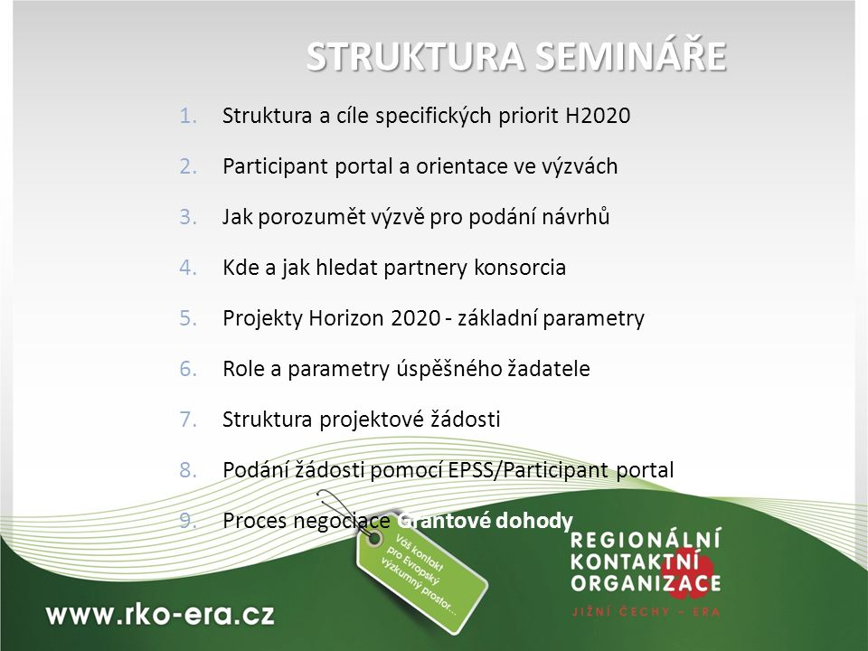 STRUKTURA SEMINÁŘE Struktura a cíle specifických priorit H2020