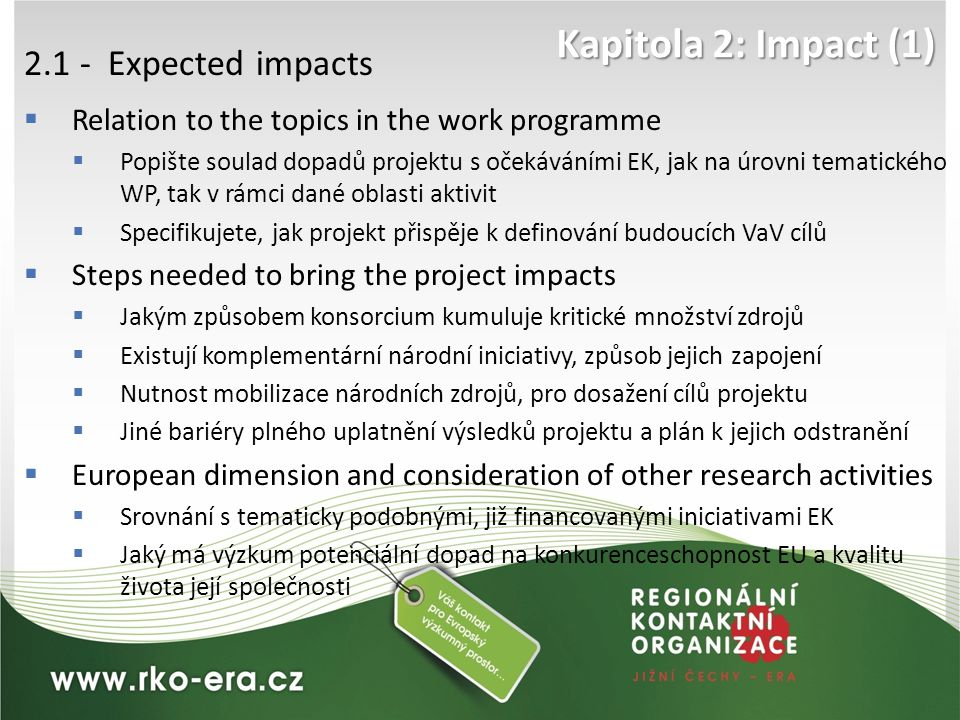 Kapitola 2: Impact (1) 2.1 - Expected impacts