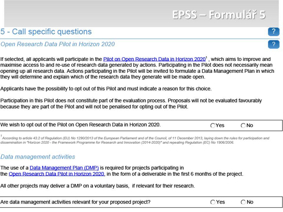 EPSS – Formulář 5