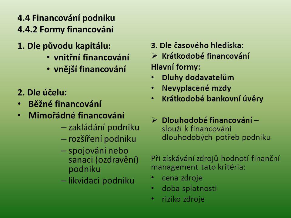 4.4 Financování podniku 4.4.2 Formy financování