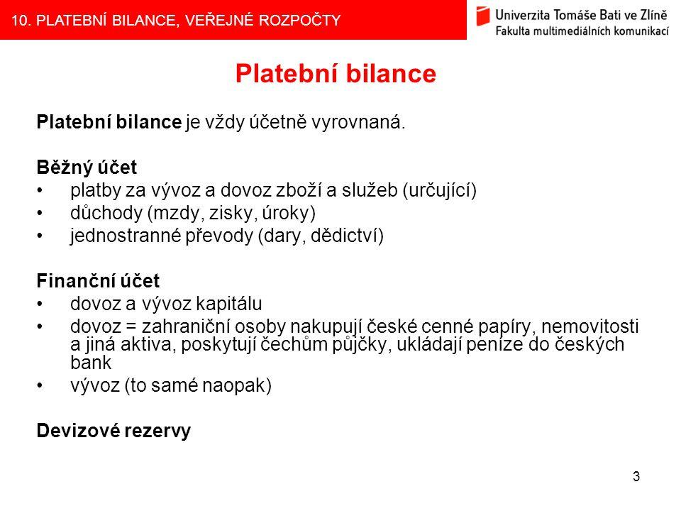 Platební bilance Platební bilance je vždy účetně vyrovnaná. Běžný účet