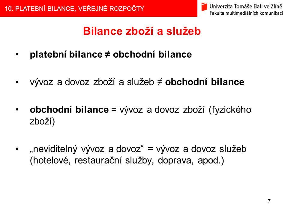 Bilance zboží a služeb platební bilance ≠ obchodní bilance