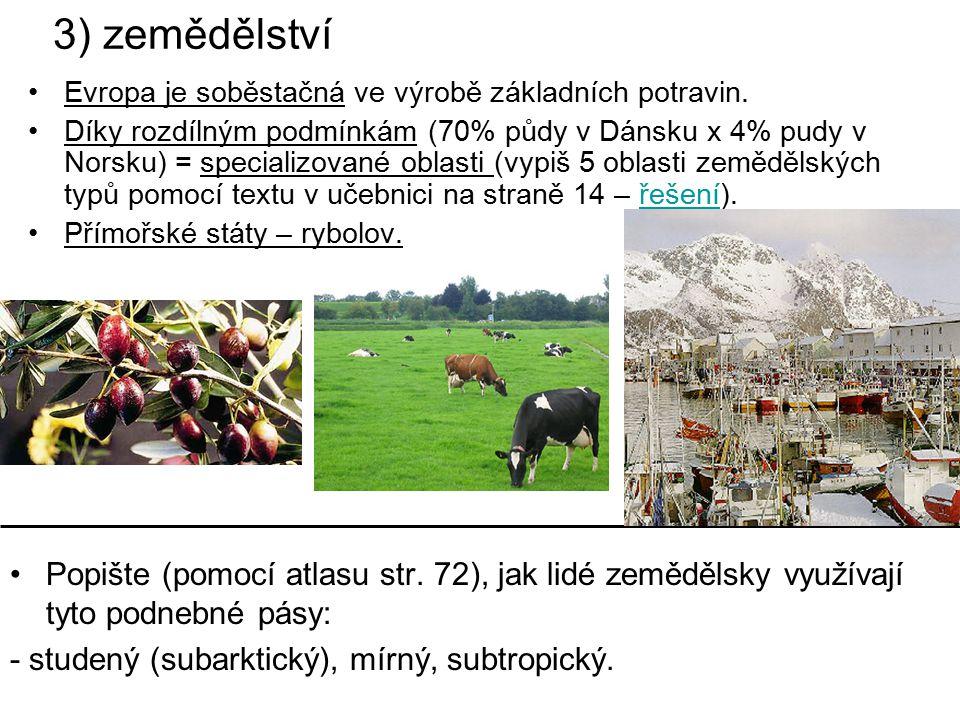 3) zemědělství Evropa je soběstačná ve výrobě základních potravin.