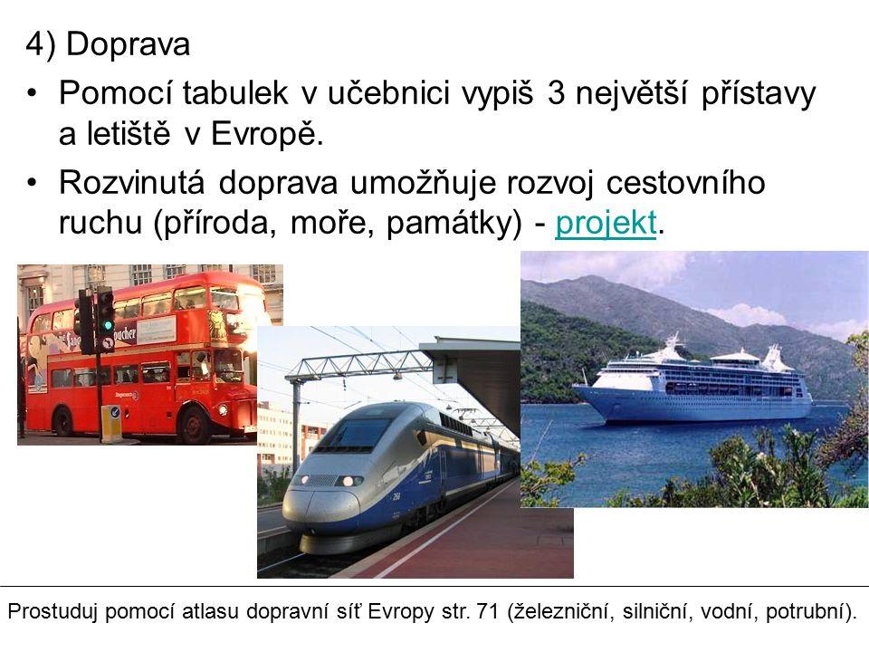 4) Doprava Pomocí tabulek v učebnici vypiš 3 největší přístavy a letiště v Evropě.