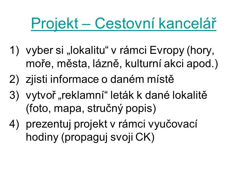 Projekt – Cestovní kancelář