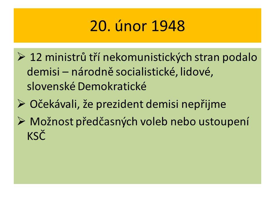 20. únor 1948 12 ministrů tří nekomunistických stran podalo demisi – národně socialistické, lidové, slovenské Demokratické.