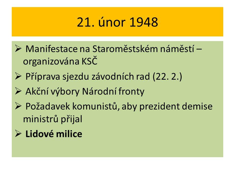 21. únor 1948 Manifestace na Staroměstském náměstí – organizována KSČ