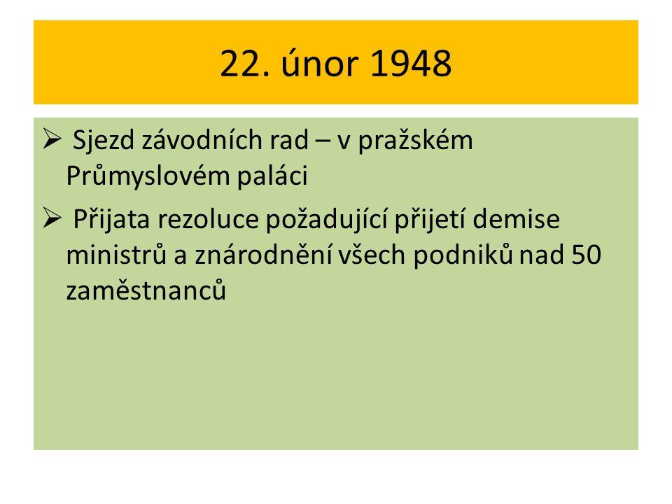 22. únor 1948 Sjezd závodních rad – v pražském Průmyslovém paláci