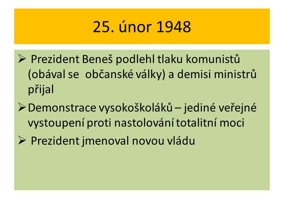 25. únor 1948 Prezident Beneš podlehl tlaku komunistů (obával se občanské války) a demisi ministrů přijal.