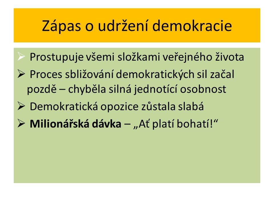 Zápas o udržení demokracie