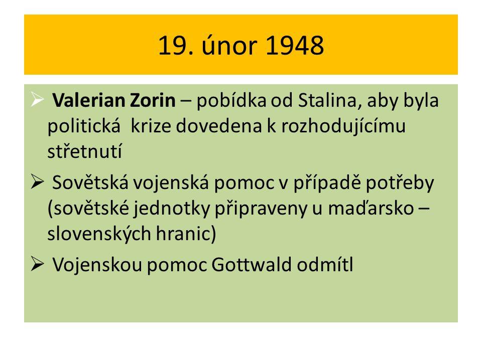 19. únor 1948 Valerian Zorin – pobídka od Stalina, aby byla politická krize dovedena k rozhodujícímu střetnutí.