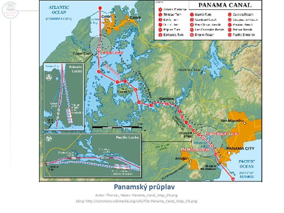 Panamský průplav Autor: Thoroe,, Název: Panama_Canal_Map_EN.png