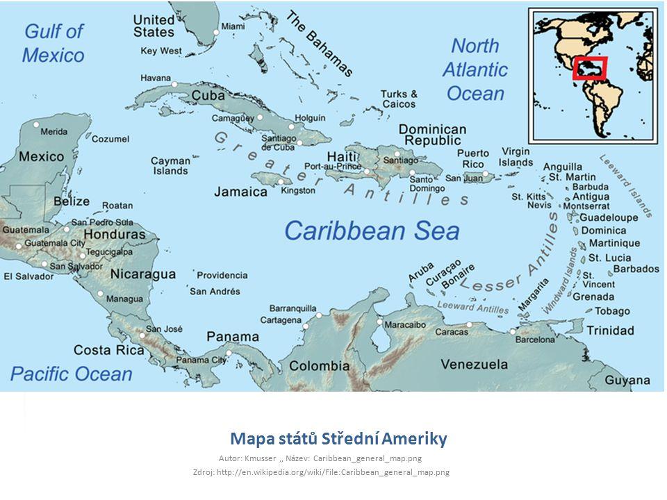 Mapa států Střední Ameriky
