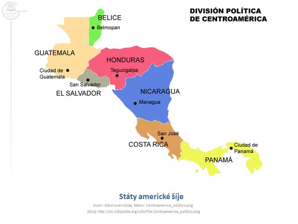 Státy americké šíje Autor: AlexCovarrubias, Název: Centroamerica_politico.png.