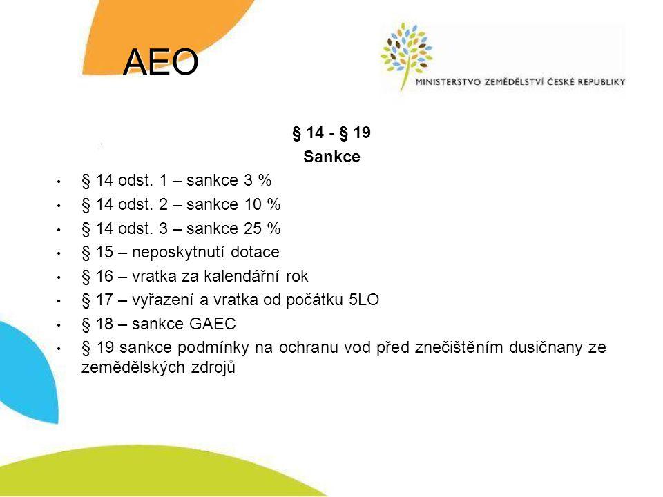 AEO § 14 - § 19 Sankce § 14 odst. 1 – sankce 3 %