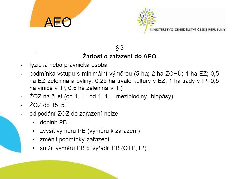 Žádost o zařazení do AEO