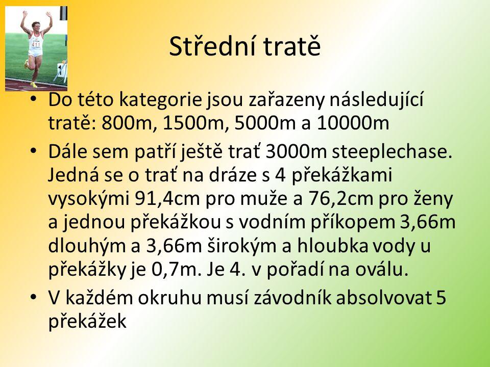 Střední tratě Do této kategorie jsou zařazeny následující tratě: 800m, 1500m, 5000m a 10000m.