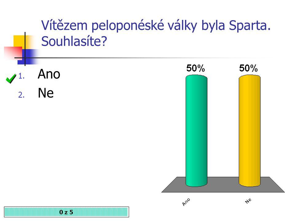 Vítězem peloponéské války byla Sparta. Souhlasíte
