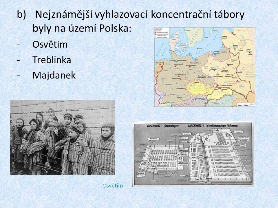 Nejznámější vyhlazovací koncentrační tábory byly na území Polska: