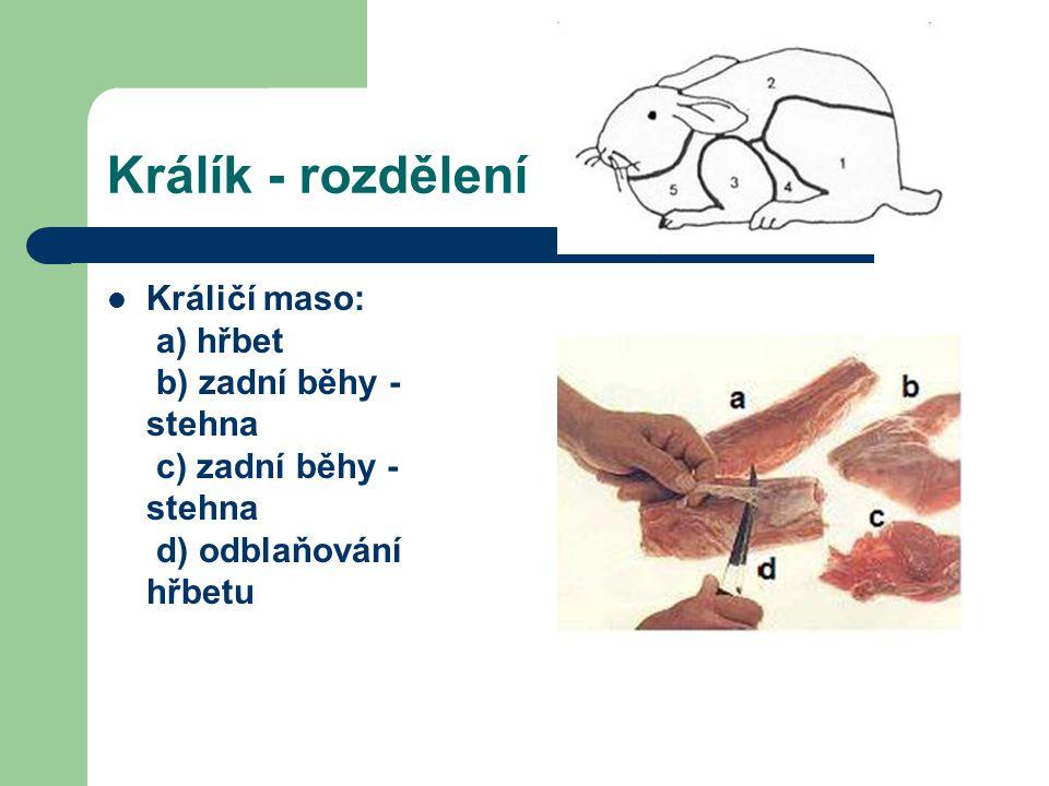 Králík - rozdělení Králičí maso: a) hřbet b) zadní běhy - stehna c) zadní běhy - stehna d) odblaňování hřbetu.