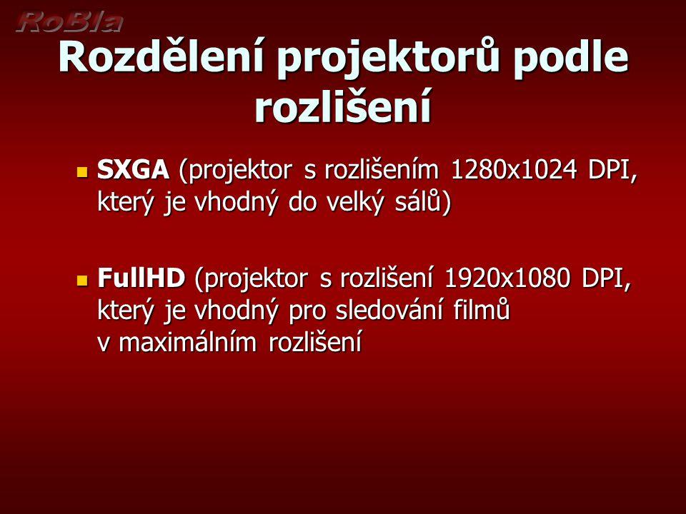 Rozdělení projektorů podle rozlišení