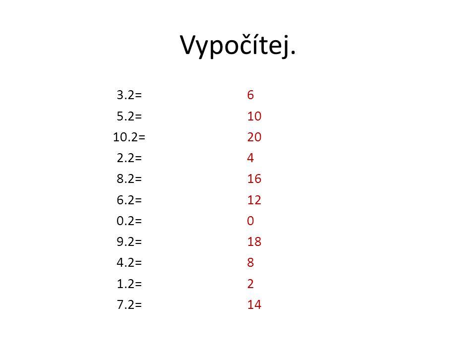 Vypočítej. 3.2= 5.2= 10.2= 2.2= 8.2= 6.2= 0.2= 9.2= 4.2= 1.2= 7.2=