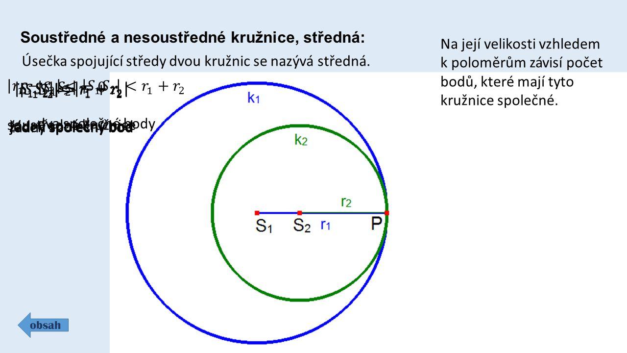 Soustředné a nesoustředné kružnice, středná: