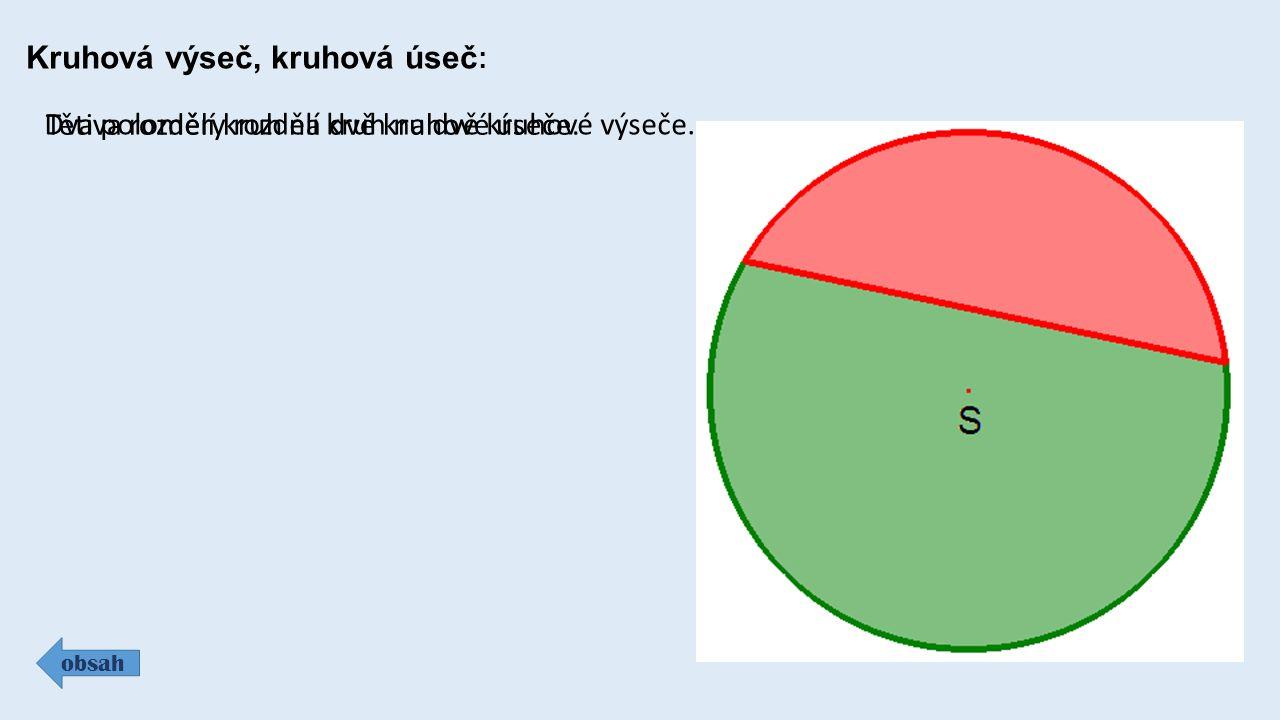 Kruhová výseč, kruhová úseč: